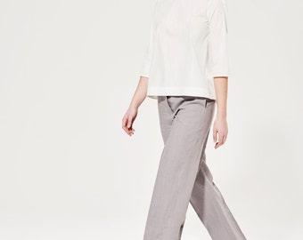 White Cotton Shirt / Minimalist Blouse / Open Back Blouse / Elegant Cotton Shirt / Custom Made / Women's Shirts