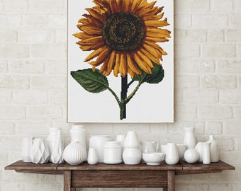 Counted Cross Stitch PATTERN Sunflower by Daniel Froesch, Cross Stitch Chart PDF