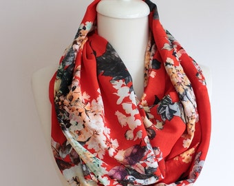 Red Floral Infinity Scarf Loop Print Scarf Circle Scarf Spring Summer Fall Winter Session gift for her girlfriend wife mothers day