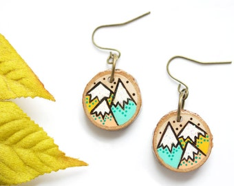 Wood-Burned Mountain Earrings, Wood Mountain Earrings, Wood Earrings, Pastel Mountain Jewelry, Pastel Colors, Sustainable Wood