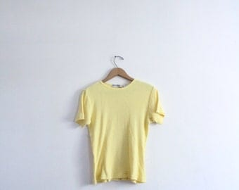 Pale Yellow 90s Ribbed Tee
