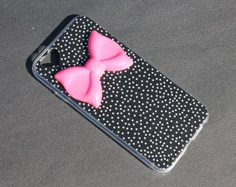 iPhone 6 Black Polka Dot Bow Case