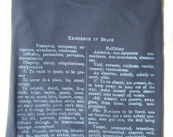 Existence in Space Mens denim blue Organic Cotton printed T shirt