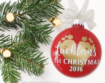 Baby's First Christmas Ornament, New Baby Gift, 1st Holiday Home Decor, Personalized with Your Child's ACTUAL Feet, 3 in glass disc