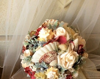 Beach Wedding Bridal Bouquet-Beach Bouquet-Fall Destination Beach Wedding-Wine/Ivory Flowers & Seashells Beach Wedding Flowers-Beach Wedding