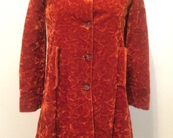 MOD Vintage 1960's Crush Velvet ORANGE Coat SMALL