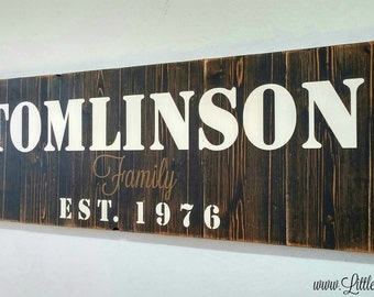 Rustic Wood Sign, Unique Wedding Gift, Large Family Name Sign, Rustic Wall Decor, Wood Anniversary Gift, Family Gifts, Farmhouse Decor