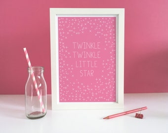 Nursery Art, Twinkle Twinkle Little Star - Pink,  Girls Room, Typography, Lullaby, Pink Baby room, Nursery, Pink Baby art, Stars, Sky