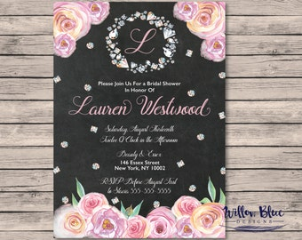 Diamonds and Roses Bridal Shower Invitation #504, 5x7 or 4x6 Printable, Printable Bridal Shower Invitation