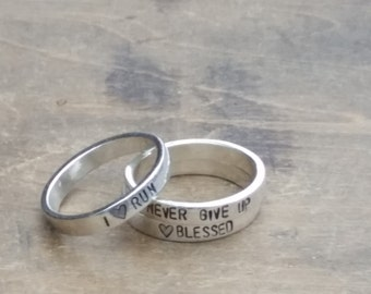 ONE Personalized Stacking Name Rings . Mothers Ring  .  Runners Gift  .  Inspirational Jewelry