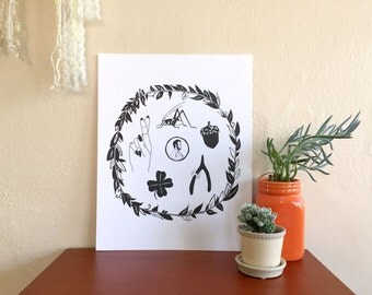 Good luck symbols paper art print 11 x 14