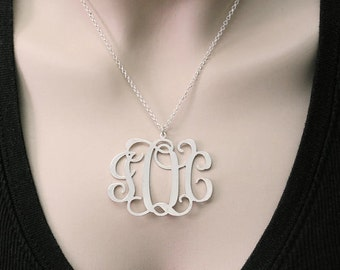 "2"" Monogram Necklace. Personalized Initial necklace. Silver monogram necklace. Monogram initial necklace. Silver necklace. Monogram jewelry"