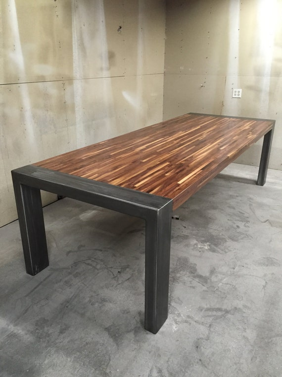 modern dining room table by metaltreefurniture on etsy