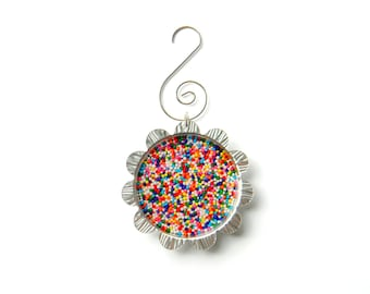 Petal Cap Ornament - Real Rainbow Candy Sprinkles
