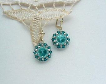 Crystal Earrings Turquoise Silver