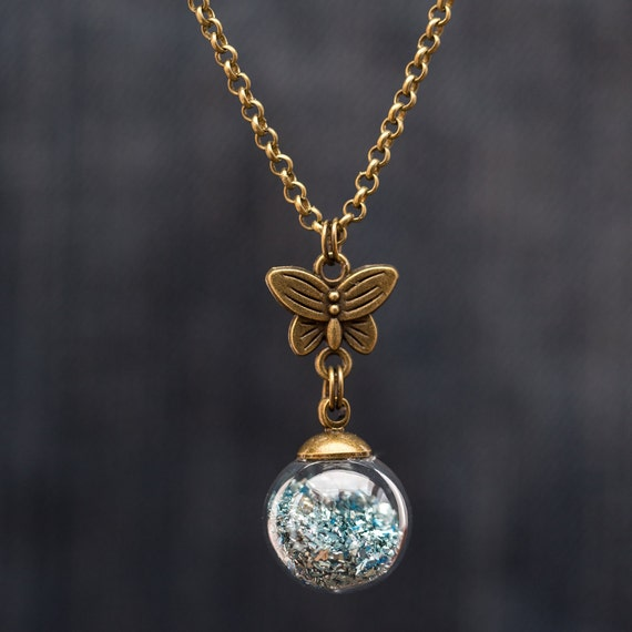 FREE SHIPPING - Blue German Glitter Glass Globe Necklace - Blue Glitter Glass Vial - Globe Vintage Necklace - Vintage Sphere