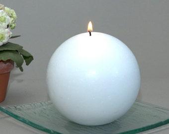 "White Ball Candle - 4"" - Pillar Candle - Round Candle - Hostess Gift - Wedding Decor - Modern Decor - Coffee Table Decor - Bridesmaid Gift"