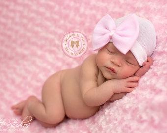 NEWBORN GIRL HAT - Baby Girl Hat -Baby's 1st Keepsake - New Baby Hats - Newborn Hospital Hat with Bow, 2