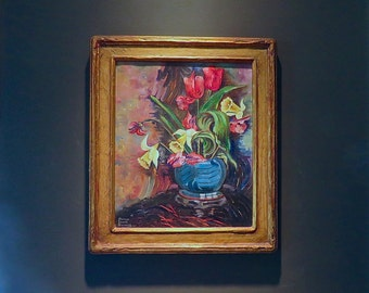 Antique Oil Painting by Listed Woman Artist, Florence Ezzell Stevenson - Still Life Oil Painting c.1920 - Newcomb Macklin Frame