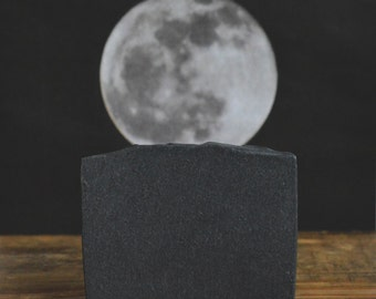 Midnight Activated Bamboo Charcoal Soap Unscented, All Natural Bar Soap, Handmade Cold Process Soap, Detox Soap, Fragrance Free, Black Soap