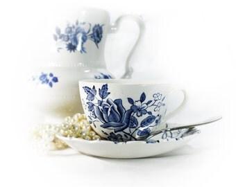 Blue Tudor Roses Teacup and Saucer, J & G Meakin Vintage Blue Transferware, Shabby Tableware, Downton Abbey Decor