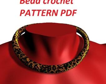 Necklace pattern jewelry tutorial bead crochet pattern necklace tutorial leopard pattern animal pattern Choker pattern How to make Necklace