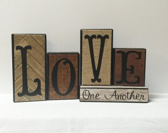 LOVE ONE ANOTHER Wood Block Set -- Rustic Neutrals - Block Set -- Neutral Colors
