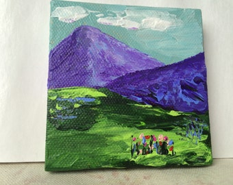 Tiny Easel Painting - Mountain Scene