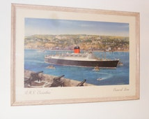 1950's RMS Carinthia, Cunard Line, Colour Advertising Poster in its original frame (29.5 in. x 20.5 po.)