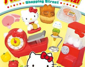 2015 / Full Set Of 8 / Re-ment / Hello Kitty / Shopping Street / Dollhouse Miniatures / Candy Toy / Gumball Machine / Slipper / Fan