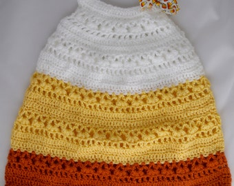 Candy Corn Baby Girl Crocheted Dress