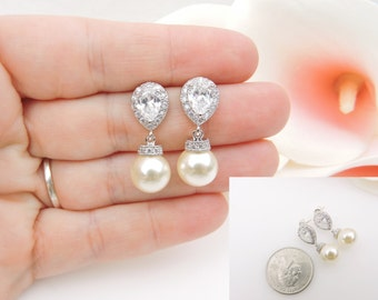 FREE US Shipping Swarovski Pearl And Cubic Zirconia Bridal Drop Earrings Teardrop CZ And Pearl Bridal Earrings Best Selling Bridal Earrings