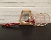 2 Wooden Badminton Rackets with Double Press / Badminton Racquets