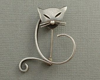 Reserved SIGNED Vintage Modernist STERLING Silver CAT Brooch Mexican Taxco Figural Pin Eagle Mark Hallmarked c.1950s