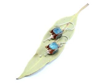 Blue Tulip Earrings, Tulip Jewelry, Silver Earrings, Flower Earrings, Copper Tulip, Fold Formed Earrings, Copper Earrings, Tulip Flower