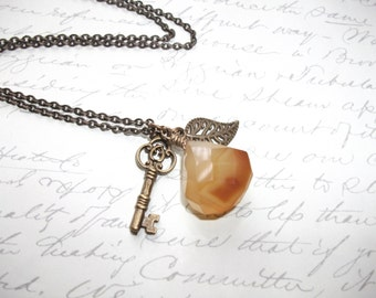 Honey yellow chalcedony necklace