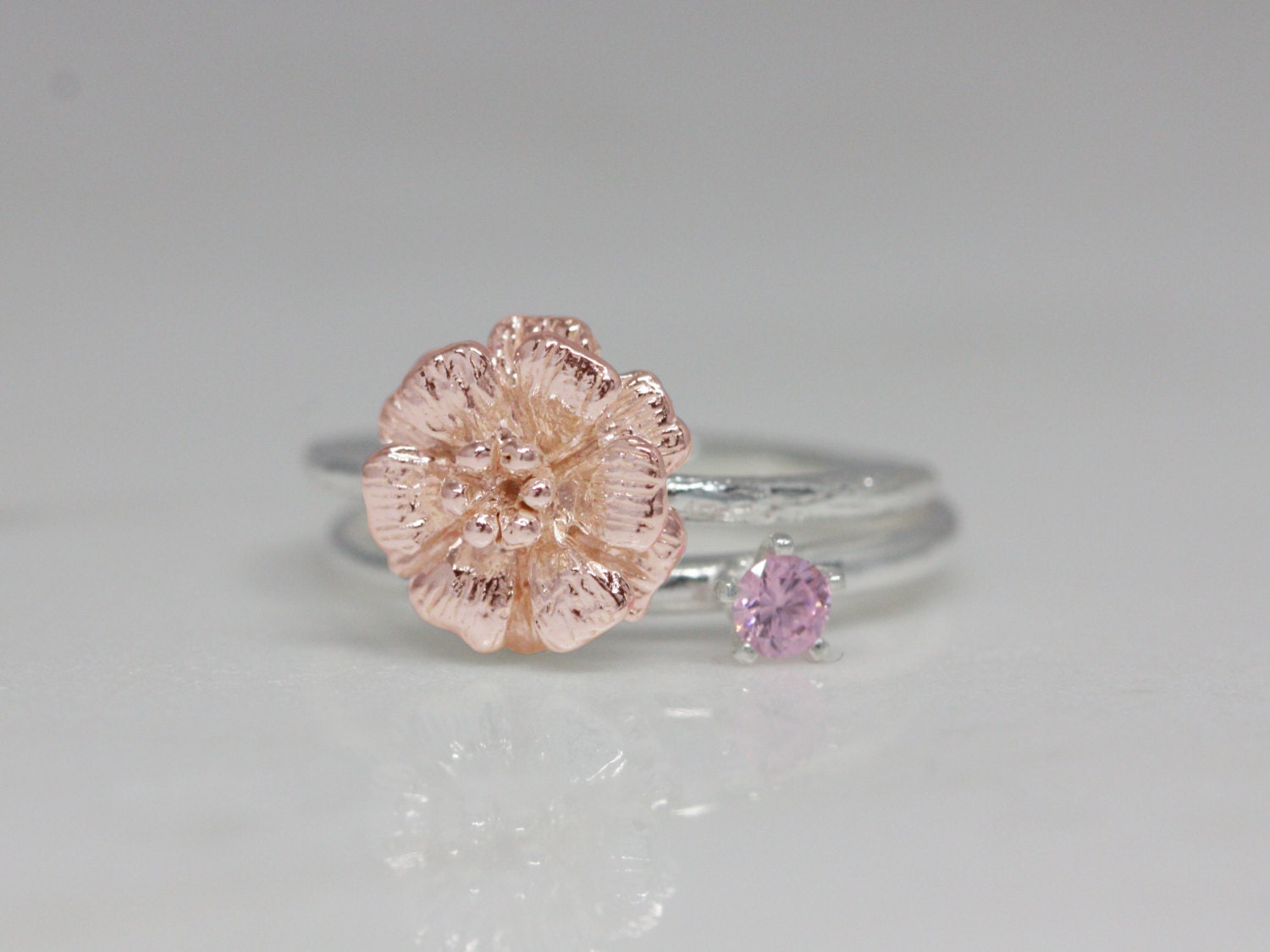 October birth flower and stone ring set birth flower ring
