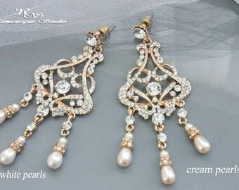 Gold Art deco earrings Pearl wedding earrings vintage style bridal earrings crystal chandelier earrings bridal jewelry 1344G