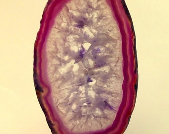Purple Crystal Agate Geode Slices Pendants or Necklace or Sun Catcher - Made to Order