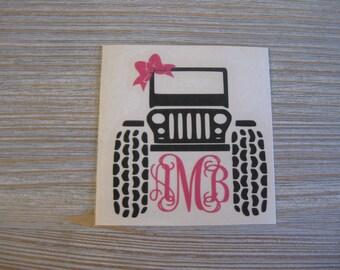 Monogram Jeep Car Decal - Jeep Monogram Car Decal - Jeep Monogram - Decal Jeep Monogram - Jeep Decal - Car Decal - Monogram Decal - Off Road