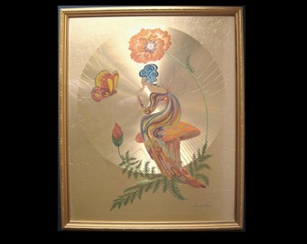 "Poppy Nymph by Michelle Emblem - Framed Gold Foil Print 22"" x 18"" - 1970s Psychedelic Hippy Fantasy Art"