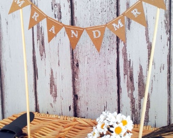Mr and Mrs Wedding Cake Topper Rustic Miniature Bunting Decoration