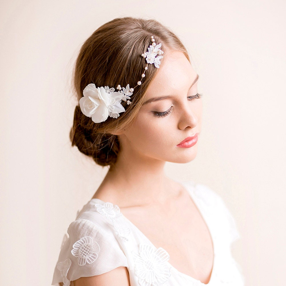 Floral Lace Headpiece For Wedding: Floral Bridal Headpiece With Gardenia Flower Wedding