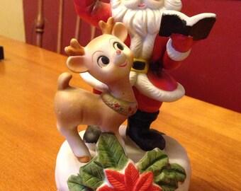 Cute Vintage Santa and Rudolf Ceramic Music Box Figurine