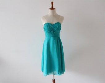 Teal Knee-length Strapless Bridesmaid Dress Short Teal Chiffon Bridesmaid Dress-Custom Dress