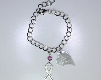 Personalized Epilepsy Awareness Ribbon Bracelet - Seizure Support Jewelry - Heart Charm with Your Personalized Message