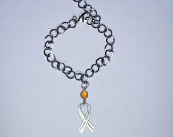 Kidney Cancer Awareness Ribbon Bracelet - Support, Memorial Jewelry