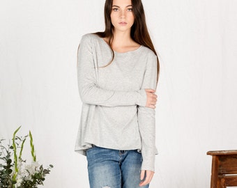 SALE!! Organic cotton long sleeve grey top