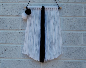 Minimal White and Black Fringe Wool Wall Hanging with Mini Pompoms