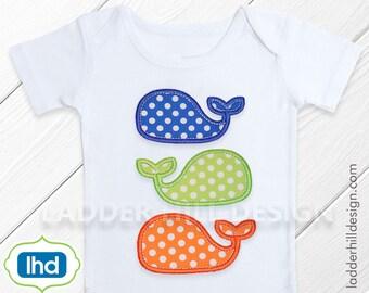 Whale Applique Design ~ Fish Applique Design -- Triple Stack Whale Applique Summer Applique Design WA035A